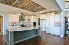 Reclaimed Weathered Wood by Stikwood – Wall Panels – Modenus Catalog - Ceiling Design Reclaimed Wood Kitchen, Weathered Wood, Reclaimed Wood Wall Panels, Barn Wood, Trey Ceiling, Accent Ceiling, Accent Lighting, Wood Ceilings, Kitchen Ceilings