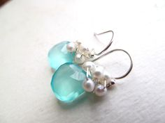 Beach Wedding Earrings Aqua Chalcedony by BlueDoveStudio on Etsy, $31.50    Aqua stone (something blue) and pearls! beachy.