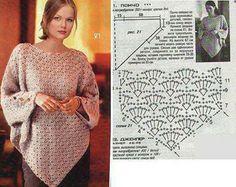 horgolt poncsó / crochet lace poncho and cape Blouse Au Crochet, Shawl Crochet, Crochet Poncho Patterns, Crochet Scarves, Crochet Clothes, Knit Crochet, Crochet Gratis, Crochet Diagram, Knitting Patterns