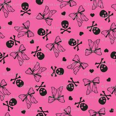skulls and bows Pastel Style, Pastel Goth, Badass Wallpaper Iphone, Wallpaper Backgrounds, Wallpapers, Pastel Fashion, Creepy Cute, Bottle Caps, Sugar And Spice