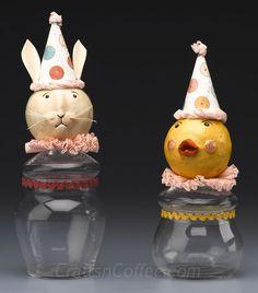 DIY Folk Art Candy Jars made with paper clay. CraftsnCoffee.com