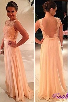 $135--27dress.com custom made 2014 vestido de dama de honra New Fashion Chiffon Nude Back Lace Peach Long Prom Dresses