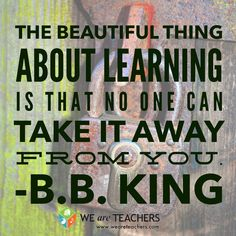 The beautiful thing about learning is that no one can take it away from you.z