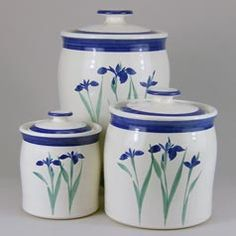 Iris Pattern 3-Piece Canister Set