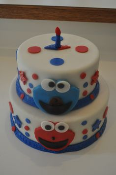 Elmo & Cookie Monster bday cake