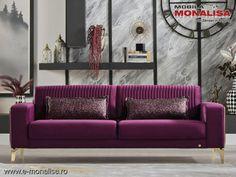 Canapea extensibila violet 3 locuri Veyron - moderna de lux Sofa, Couch, Violet, Love Seat, Modern, Furniture, Design, Home Decor, Simple Lines