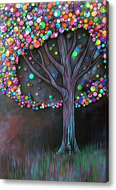 Button tree 0006    Acrylic Print by Monica Furlow
