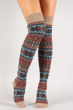 Warm Knit Holiday Thigh High Socks - Find 150+ Top Online Shoe Stores via http://AmericasMall.com/categories/shoes.html