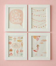 La Vie est Belle - FOR FRAMING Set of 4 prints and 1 FREE. $45.00, via Etsy.