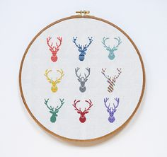 Deer Cross Stitch Pattern Horns Modern Cross Stitch par Stitchering