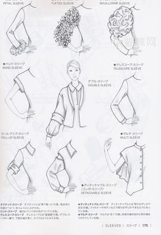 Manga Drawing Patterns Guide to Fashion Design by Bunka fashion college (Japan)/ sleeves Fashion Terminology, Fashion Terms, Fashion Guide, Textile Manipulation, Bunka Fashion College, Fashion Dictionary, Fashion Vocabulary, Illustration Mode, Design Illustrations