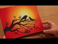 How to Paint LOVEBIRDS in a SUNSET - STEP by STEP - YouTube