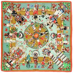 "HERMES SCARF Silk ""Kachinas"" by Kermit Oliver Vintage 90cm Carre 100% Auth by EXANYC on Etsy https://www.etsy.com/listing/227676908/hermes-scarf-silk-kachinas-by-kermit"