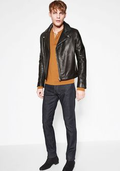 Today's Look: Leather Jackets. Photo: The Kooples. #ootd #menswear #mensfashion #mensstyle #instafashion #leatherjackets #slimjeans