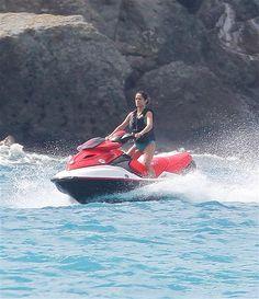 I'm dying to go jet skiing! Salma Hayek, Jet Skies, Outdoor Fun, Fishing Boats, Outdoor Activities, Caribbean, Skiing, Bucket, Celebs