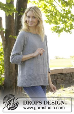 """Come Here - Knitted DROPS jumper with raglan and seed st worked top down in """"Cotton Merino"""". - Free pattern by DROPS Design Crochet Pullover Pattern, Cardigan Pattern, Jacket Pattern, Top Pattern, Free Pattern, Knitting Patterns Free, Knit Patterns, Free Knitting, Drops Design"""