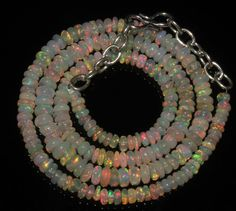 "46Crts 1Necklace 3to5mm 16"" Beads Natural Ethiopian Welo Fire Opal  56820"