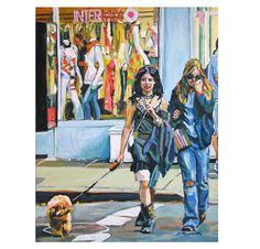 Items similar to Dog Lover, dog walker, New York Art Intermix on Bleecker Street, Urban Fine Art NYC blue red yellow Gwen Meyerson on Etsy Bleecker Street, Building Art, East Village, Life Is Like, Summer Art, Illustration Art, Illustrations, The Past, Greenwich Village