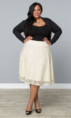 Matinee Midi Lace Skirt, Sweet Vanilla (Womens Plus Size) From The Plus Size Fashion Community On www.VintageAndCurvy.com