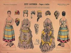 "Paper Dolls, 1790-1940 - The Collection of Shirley Fischer: 137 French Uncut Paper Doll Sheet ""Petit Costumier"" by Pellerin 1876"