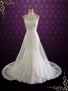 Halter Lace Wedding Dress with Illusion Skirt Leie bridal