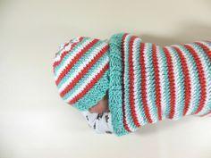Knit Beanie Hat Newborn Size in Sea Green, Coral, White Stripes by HeavenBoundHCA, $12.00 USD  www.HeavenBoundHCA.com