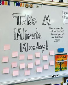 Take A Minute Monday-white board messages Future Classroom, School Classroom, Classroom Activities, Classroom Organization, Classroom Ideas, Classroom Whiteboard, Biology Classroom, Interactive Whiteboard, Morning Board