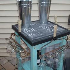 Rolling wine cart made with vintage rakes