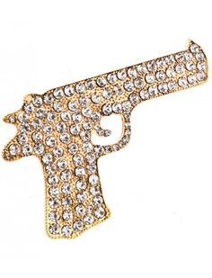 GOLD CRYSTAL GUN LADIES FASHION STRETCH RING - View All Rings - Rings - Jewellery