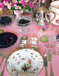 Table decor - mix floral patterns, glass containers and polished metals