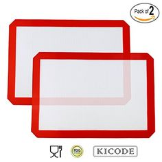 Kicode  2x Silicone Baking Mat  Healthy Cooking  FoodSafe Certified  Oven Tray Liners and Cookie Sheets  Reusable Red ** More info could be found at the image url.