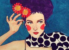 La stravaganza di Frida Kahlo e l'astrazione di Gustav Klimt si fondono magicamente negli acquerelli solari e colorati di Hulya Ozdemir