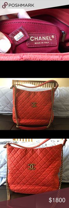 8b0602d79c8a Chanel Large Hobo Bag Red Caviar Authentic Chanel Bag for sale. I m cleaning