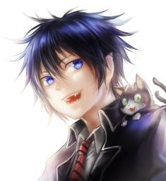 Rin & kuro - anime guy & his kitty cat - digital art
