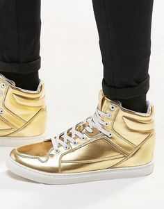 ASOS Hi-Top Trainers in Metallic Gold saved by #ShoppingIS