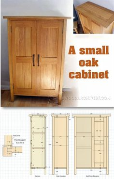 Small Cabinet Plans - Furniture Plans and Projects | WoodArchivist.com Small Woodworking Projects, Woodworking Furniture Plans, Small Wood Projects, Popular Woodworking, Teds Woodworking, Furniture Projects, Furniture Making, Diy Furniture, Bookcase Plans
