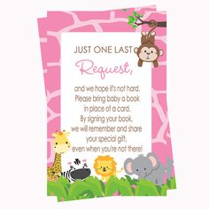 Insert Card Girls Jungle Baby Shower Bring a Book -- a sassy jungle theme invitation insert card. Perfect for including with those preppy girl