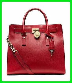 a3841e7ae6fa Michael Kors Hamilton Limited Edition Scarlet Red Glazed Shiny Patent  Saffiano Leather Large NS Tote Handbag