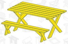 Build Yourself a Picnic Table with One of These 12 Free Plans: Free Picnic Table Plan With Separate Benches by Yellawood