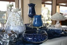 Blue and white wedding candy buffet.