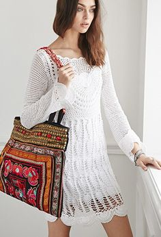 RAGA Beaded Embroidery Tote   Forever 21 - 1000078039