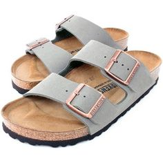 Amazon.com | Birkenstock Arizona 2-Strap Women's Sandals in Stone Birko-Flor (37 N EU - 6-6.5 US Women - Narrow) | Sandals