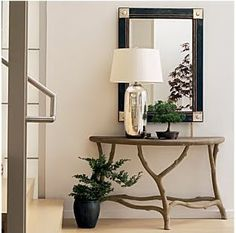 crate and barrel faux bois console table