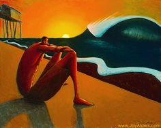 This is an amazing fine art painting by surf artist Jay Alders Depicts the inner soul in every surfer.watching the waves roll in at sunrise This oil painting, painted in oranges and retro inspired colors Surf Music, Surf Design, Music Painting, Surf Art, Weird Art, Beach Art, Surreal Art, Ocean Waves, Cool Art