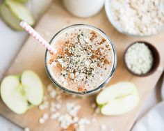 Apple n Oats Breakfast Smoothie -- 1 cup milk of choice (non-dairy or dairy) •1 large or 2 small apples, any variety •⅓ cup old fashioned rolled oats •2 Tablespoons hemp hearts (can substitute chia or flax seeds) •1 Tablespoon almond butter •½ teaspoon ground cinnamon •½ cup ice