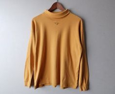 90s Ochre Embroidered Turtle Neck  Size by LittleVisionsThrift