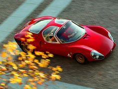 1967 Alfa Romeo 33 Stradale. Only 18 of these cars were ever made. Housed a 2L V8 engine in the back.