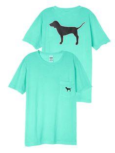 Victoria Secret PINK Campus Pocket T Shirt Tee Seafoam Blue Black Dog XS fit S  #PINK #GraphicTee