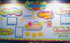 This one bulletin board set gives you all the important headlines for your classroom! The jazzy signs in the Classroom Headlines Bulletin Board Set answer students' daily questions and deliver friendly messages. Post information under the Assignments, Schedule, and Class Rules signs; or happily proclaim Welcome, Happy Birthday, Way to Go!, and Student of the Week. There are so many uses for these snazzy signs! Includes 7 signs plus 5 star accents. Largest piece is 23″ W by 9″ H.