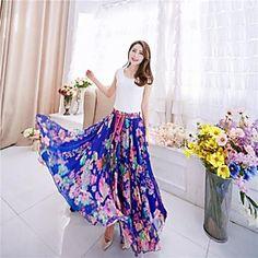 Women's Elegant Print Inelastic Maxi Skirts (Polyester)